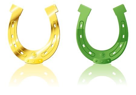 Gold & Green ornate Horseshoe, vector illustration