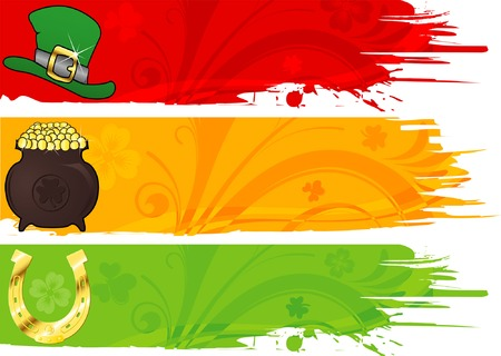 Three St. Patricks Banner with hat, cauldron and horseshoe Vector