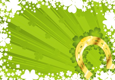 St. Patricks Day frame with gold horseshoe Vector