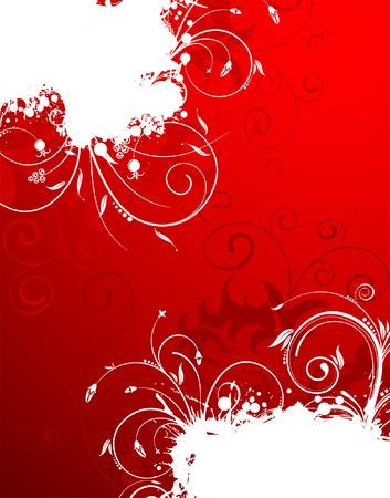 Grunge Floral Frame, element for design, vector illustration Stock Vector - 4450551