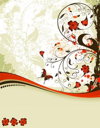 Grunge Floral Background con farfalla, elemento per la progettazione, illustrazione vettoriale