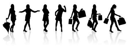 Set vector silhouettes girls with bag, illustration Stock Vector - 4450547