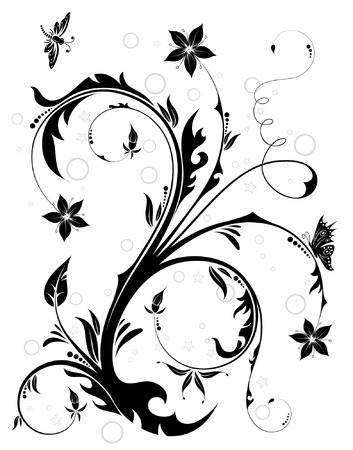 Floral Background with butterfly and dragonfly, element for design, vector illustration Illustration