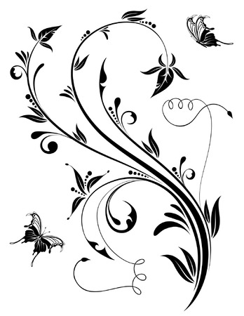 black branch: Floral Background with butterfly, element for design, vector illustration