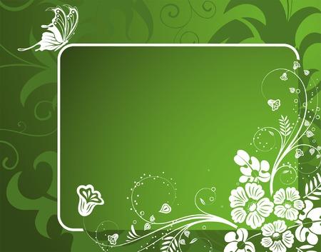 frame flower: Flower frame with Butterfly, element for design, vector illustration Illustration
