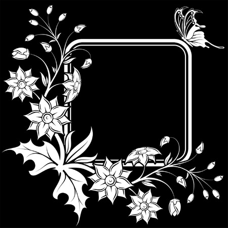 Flower frame with Butterfly, element for design, vector illustration Illustration