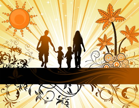 Summer Background with family silhouettes, palm tree and floral ornament, element for design, vector illustration