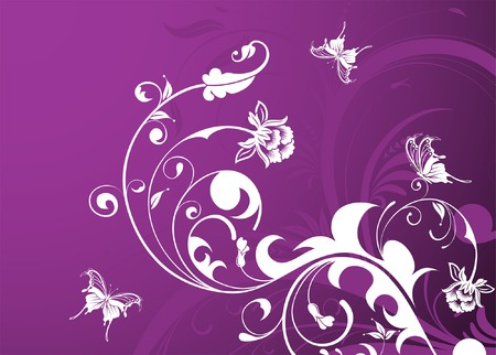 Abstract Floral Background with butterfly, element for design, vector illustration Stock Vector - 4588194