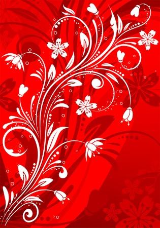 Floral pattern on red background, element for design, vector illustration Vector