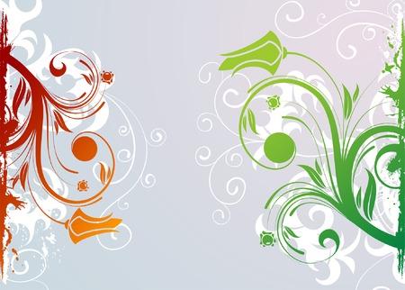Grunge Floral background with frame, element for design, vector illustration Vector