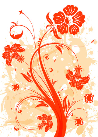 Grunge Floral background for design, vector illustration Stock Vector - 5171668