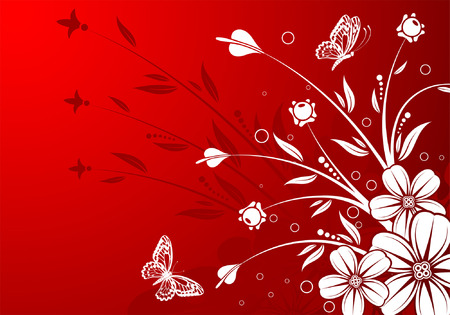 Floral background with butterfly, element for design, vector illustration Stock Vector - 5210264