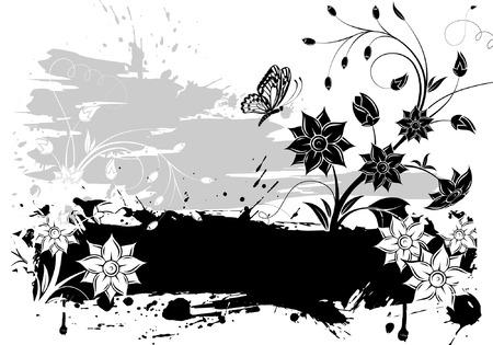 grunge vector: Grunge Floral background for design, vector illustration Illustration