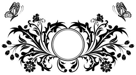 animal frames: Floral frame with butterfly, vector illustration