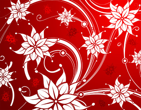 Floral background with ladybug, element for design, vector illustration Vector
