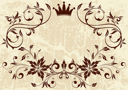 Grunge Floral frame with Crown, vector illustration Vector
