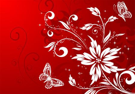 Floral background con farfalla, elemento per la progettazione, illustrazione vettoriale