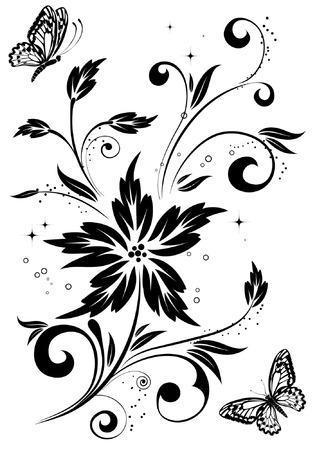 eleganz: Floral background with butterfly, element for design, vector illustration