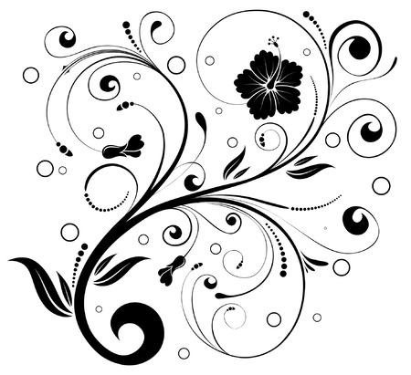 Ornamento floreale con cerchio, elemento per la progettazione, illustrazione vettoriale Vettoriali