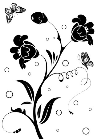 floral vector: Floral Ornament with butterfly, element for design, vector illustration Illustration