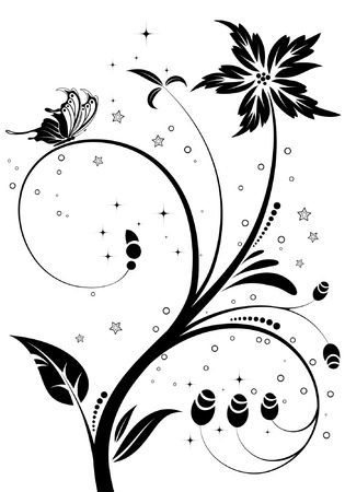 Floral Ornament with butterfly, element for design, vector illustration Stock Vector - 5493104