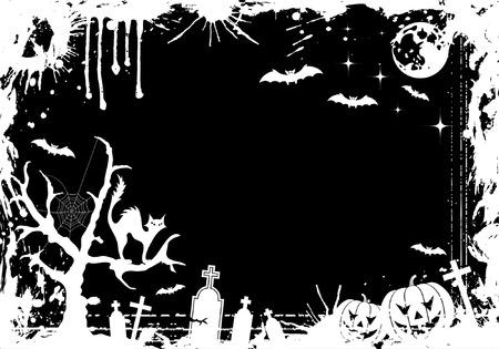Grunge Halloween frame with pumpkin, bat, element for design, vector illustration Vector