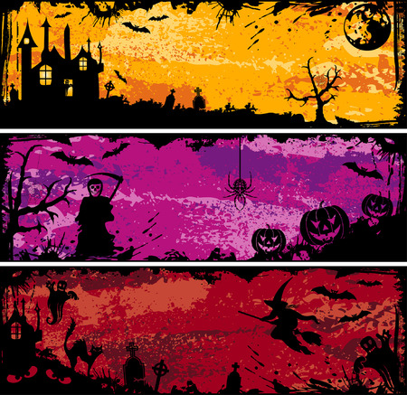Three grunge Halloween frame with bat, pumpkin, witch, ghost, element for design, vector illustration Vector