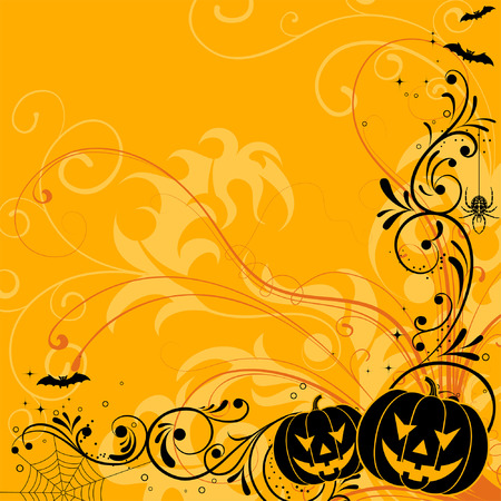 Halloween background with bat, pumpkin, element for design, vector illustration Vector
