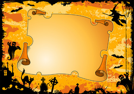 Grunge Halloween frame with roll, bat, witch, ghost, element for design, vector illustration Vector