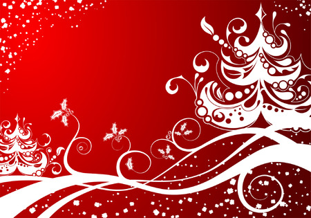 Christmas background with tree, element for design, vector illustration Stock Vector - 5493131