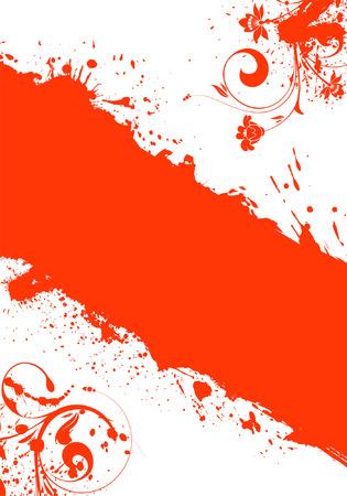 Grunge Floral Frame for design, vector illustration Vector