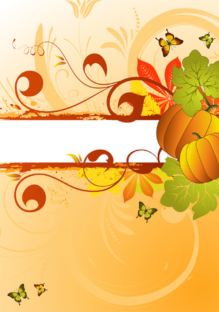 Grunge Autumn Frame with leaves and Pumpkin for design, vector illustration Vector