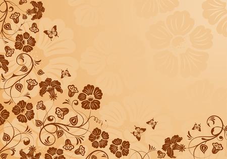 Flower background con farfalla, elemento per la progettazione, illustrazione vettoriale