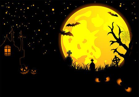 Halloween background with bat, pumpkin, element for design, vector illustration Vector