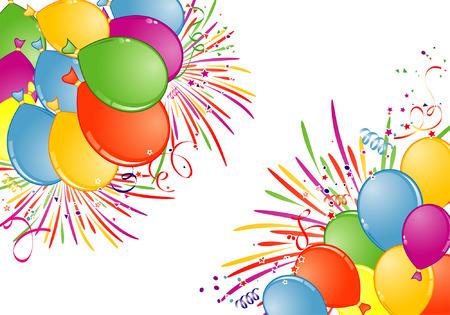verjaardag frame: Verjaardags frame met ballon, Fireworks en streamer, element voor ontwerp, vector afbeelding