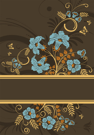 Floral Frame with butterfly, element for design, vector illustration Vector