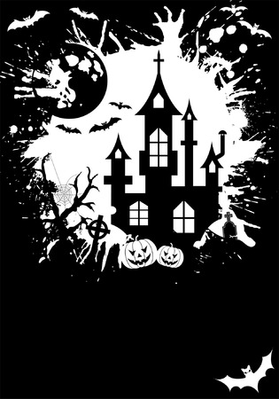gravestone: Grunge Halloween frame with pumpkin, bat, element for design, vector illustration