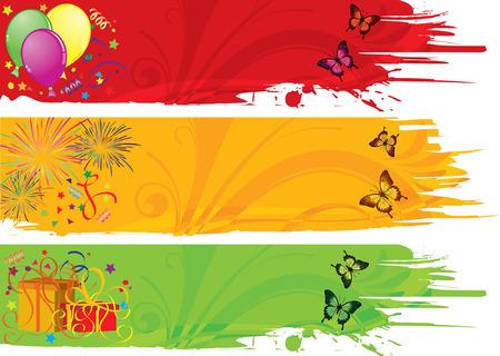 Tre Grunge Compleanno Frame con palloncino, Fireworks e streamer, elemento per la progettazione, illustrazione vettoriale