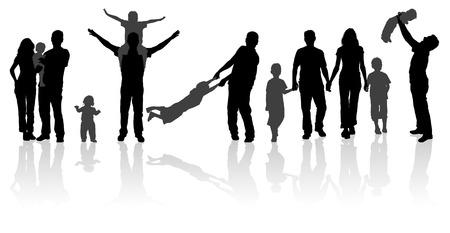Silhouette Happy Family on Walk in Action, Vector Illustration for Design Illustration