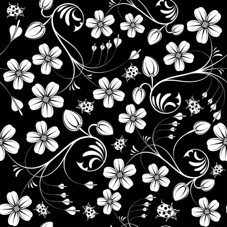 foliages: Flower seamless pattern with ladybug, element for design, vector illustration