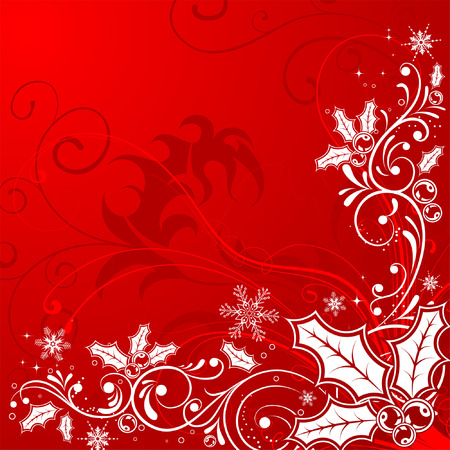 holly leaf: Christmas Frame with snowflakes and holly berry, element for design, vector illustration