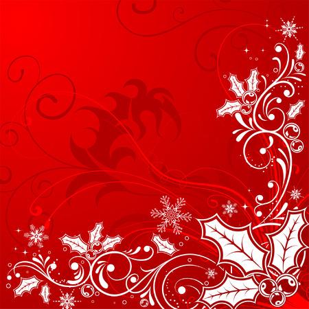 frutos rojos: Marco de Navidad con copos de nieve y la baya de acebo, el elemento de dise�o, ilustraci�n de vectores