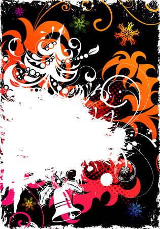 Grunge Christmas Frame with Tree, element for design, vector illustration Vector