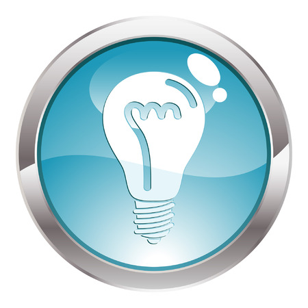 Three Dimensional circle button with light bulb icon, vector illustration Stock Vector - 5809918