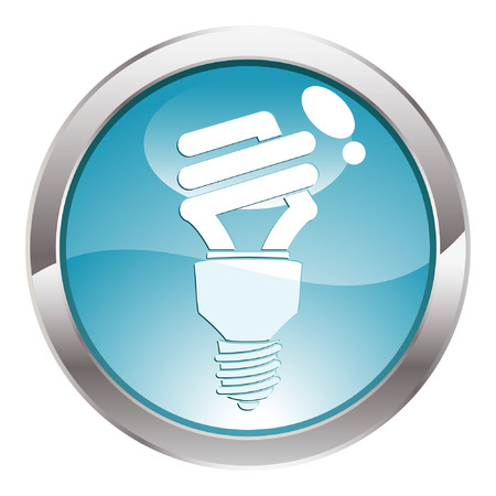 Three Dimensional circle button with energy-saving light bulb icon, vector illustration Vector