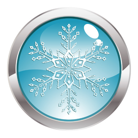 three dimensional: Three Dimensional circle button with Snowflake icon, vector illustration