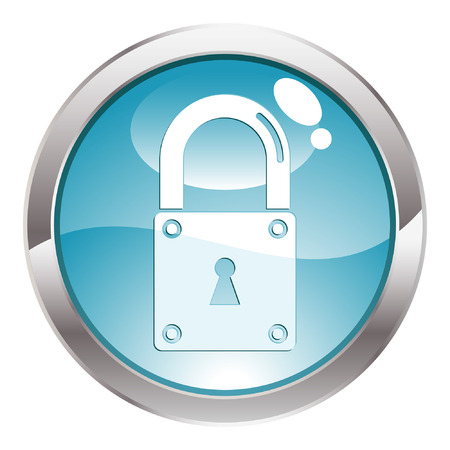 Three Dimensional circle button with closed Lock icon, vector illustration Stock Vector - 5809912