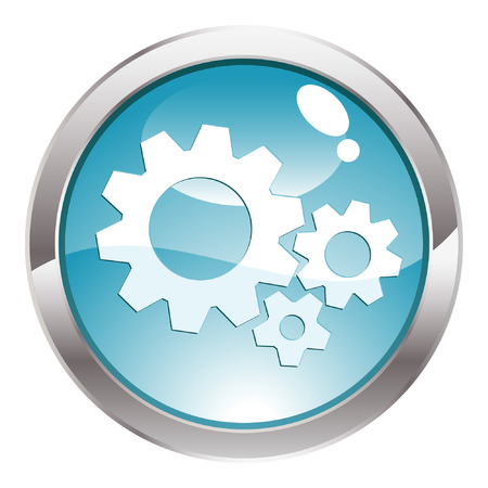 three dimensional: Three Dimensional circle button with Gear icon, vector illustration Illustration