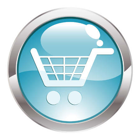 three dimensional: Three Dimensional circle button with shopping cart icon, vector illustration