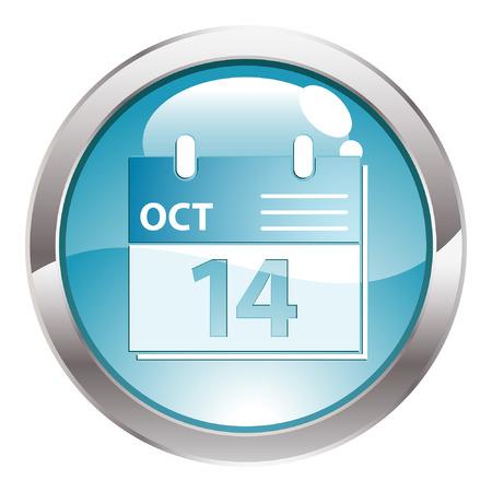 calendar icon: Three Dimensional circle button with Calendar icon, vector illustration Illustration